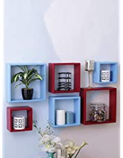 Wooden Cube Wall Shelves Set of 3