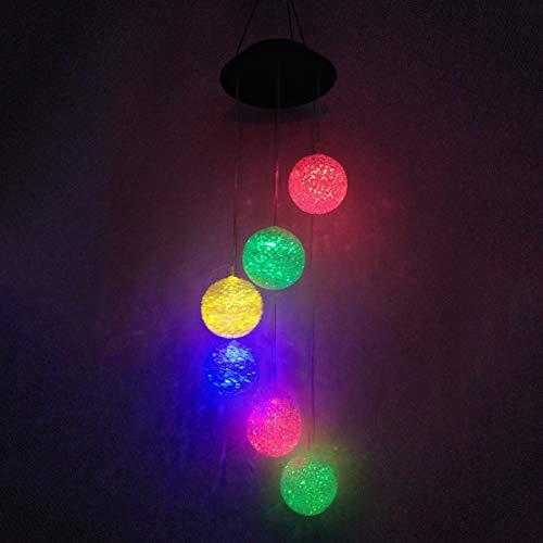 Uonlytech Solar Windspiel, Kristallkugel Farbwechsel Mobile Windspiel Licht, Solar Hängelampe für Home Party (2 Stücke) -