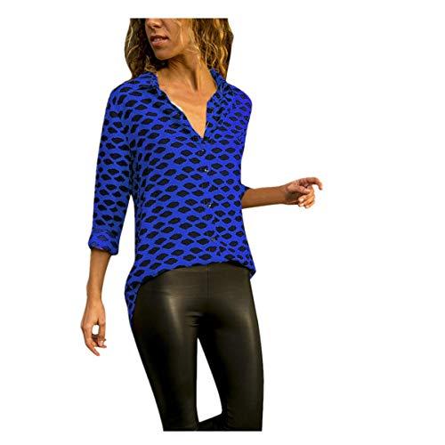 Auifor Damen Casual Langarm Leopard Print Button T-Shirts Tops Bluse Baby Leopard Print