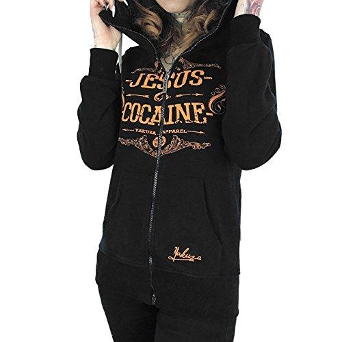 Yakuza Original Damen Jesus Or Cocaine Zip Hoodie Kapuzenjacke (Hoody Sweatshirt Schwarzes Logo-patch)