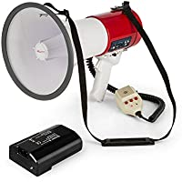 Auna Megáfono MEGA080USB Megáfono - Amplificador de Voz, Batería, Alcance 700m, Modo de Voz Sirenas silbidos, USB Rec, SD, Reproductor MP3, Correa de Transporte, Rojo