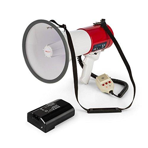 auna Megaphon MEGA080USB • Megafon • Stimmenverstärker • 1.500-mAh-Akku • bis 700 m Reichweite • Sprech-, Sirenen oder Pfeif-Modus • USB- und Rec-Funktion • SD-Slot • MP3-Player • Tragegurt • rot