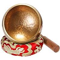 Klangschale 8cm Klangschalen Set klein mit Holz Klöppel und Klangschalenkissen Meditation Klangtherapie Achtsamkeit Aufmerksamkeit - Rot - Keliti