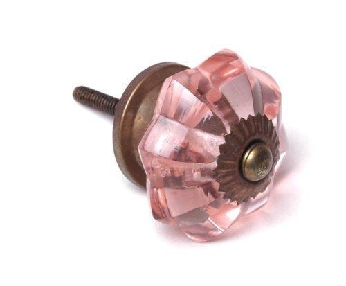 en-forme-de-fleur-bouton-verre-antique-rose-poignee-placard-avec-laiton-ancien-base-40mm-x-paquet-de