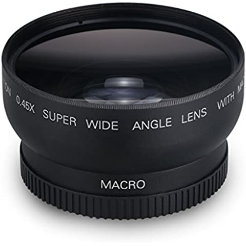 52Mm 0.45X Objetivo Lente Gran Angular (Digital de Alta Definición, Lente Macro, Enfoque Automático, IR, para Canon Nikon Reflex Camara