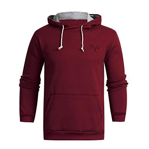 Design-optionen Baumwolle Strickjacke (Daysing Herren Herbst und Winter lässig Logo Druck einfarbig Hoodie Pullover, Tasche Design Sweatshirt bequemes Sweatshirt)