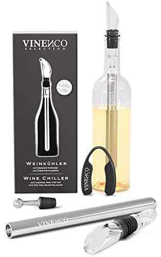 VINENCO Weinkühler Set + Folienschneider, Edelstahl-Stopper & Aufbewahrungsbeutel, Premium Design 3-in-1 Flaschenkühler mit tropffreiem Dekantier Ausgießer & Edelstahl Kühlstab | Weißwein Rotwein