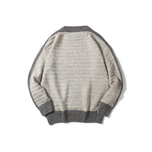 Yiiquan Pullover Lavorato A Maglia Uomo di Inverno Maniche Lunghe Stile Giapponese Retro Maglione Beige