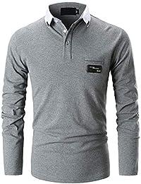 GHYUGR Casual Polo de Mangas Largas para Hombre Algodón Slim Fit Camiseta  Camisas Deporte Golf Tennis 2d4f45943648e