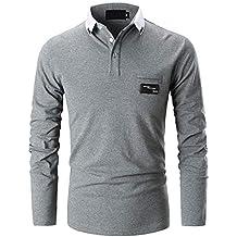 d460065e208 GHYUGR Polo Homme Manche Longue Casual T-Shirt Coupe Mince Slim Fit Couleur  de Contraste