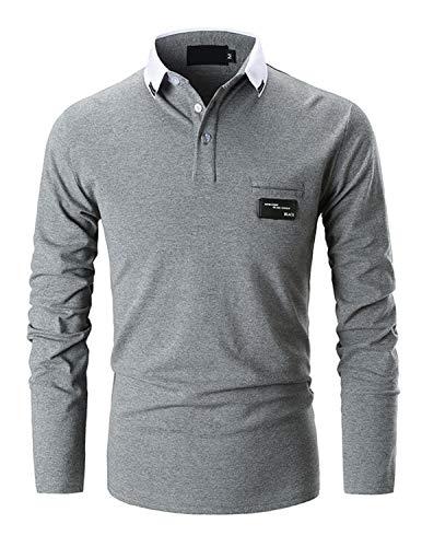 Ghyugr Casual Polo De Mangas Largas Para Hombre Algods N Slim Fit Camiseta Camisas Deporte Golf Tennis T Shirt Oficina Bots N Cuello Gris