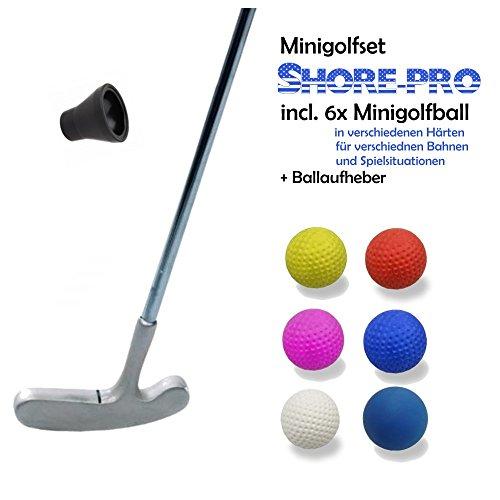 Golfas Set de mini-golf professionnel - 8pièces (avec 6différentes balles Shore pour divers chemins et besoins) et ramasse-balles