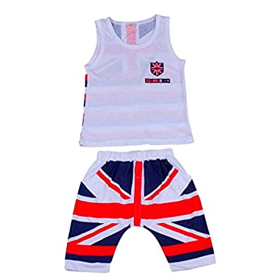 FeiliandaJJ Boys Clothes Set, 2pcs Kids Toddler Boy Cute Summer Union Jack Printed Sleeveless Tanks T-Shirt Tops Shorts Pants Outfits Set Grey : everything £5 (or less!)