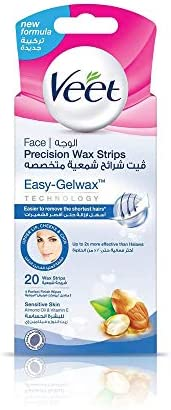 Veet Hair Removal Natural Cold Wax Strips Argan Oil Face 20 Count