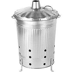 Fût de 90 litres galvanisé I Élimination rapide et facile des déchets de jardin I Baril de combustion métallique I Fût de combustion I Poubelle de combustion I Poubelle de jardin I Four de combustion