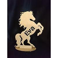Equitation cheval cabré personnalisé décoration chambre enfant avec prénom, sur socle