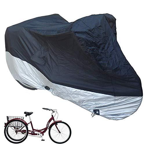 MOPHOTO Fahrradabdeckung für Erwachsene, Dreiradabdeckung für Outdoor-Fahrrad, strapazierfähiges Ripstop-Material, wasserdicht und UV-Schutz (198 cm L x 76,2 cm B x 111,8 cm H)