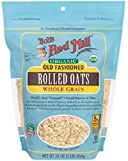 Bobs Red Mill Organic Oats Rolled Regular, 16 Ounce