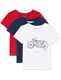 RED WAGON T-Shirt con Stampa Vintage Bambino, Pacco da 3