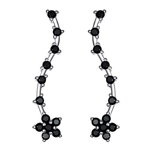 Clearine - Pendientes de plata de ley 925 para mujer, diseño de flor de circonita cúbica, color negro