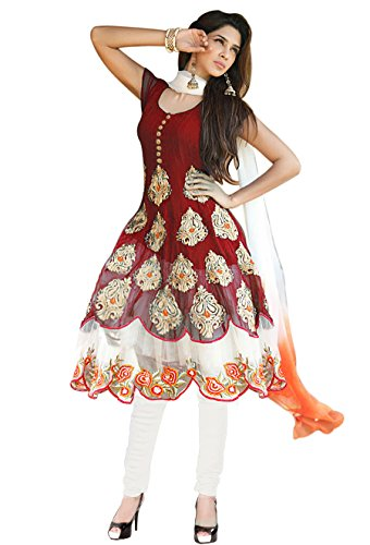 Li Te Ra Designer Georgette Embroidered Maroon Anarkali Dress Material