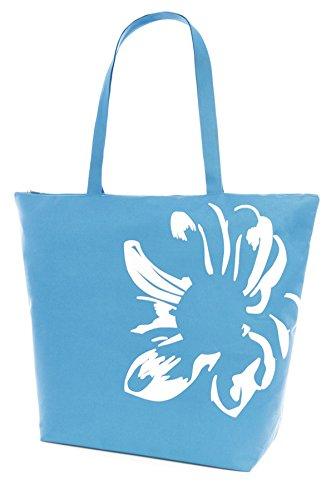 Damen Blumen-Motiv, Sommer, Strand, Pool-Swim-Tasche-Shopping-Tasche, groß blau