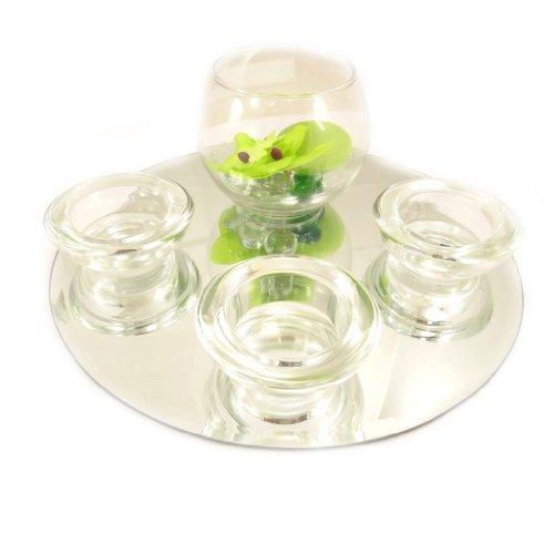 Set velas flotantes espejo 'Belle De Soie'(verde).