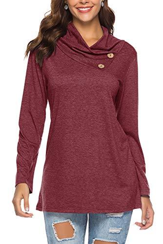 Dasbayla Pullover Bluse Oberteile für Damen Rollkragen Langarmshirt Sweatshirt Winerot XL