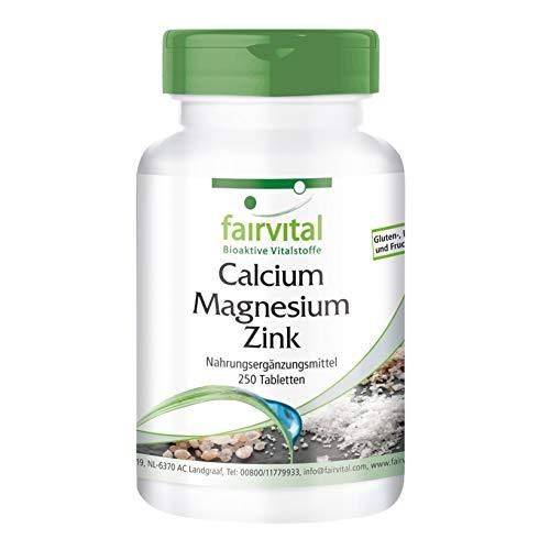 Calcium Magnesium Zink Tabletten - HOCHDOSIERT - VEGAN - 250 Tabletten - Mineralstoff-Komplex -