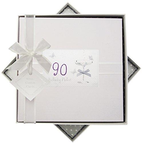 WHITE COTTON CARDS C90M 23x 23x 5cm Medium zum 90. Geburtstag Coupe Glas Foto Album, weiß -