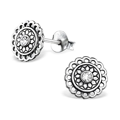 (Silvinity Damen Ohrstecker Blume flach Ø8mm - 925 Silber Ohrringe Blumen Ornamente mit Kristall #SV-233)