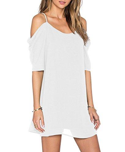 HIMONE Damen V-Ausschnitt Chiffonkleid Party Sommerkleid Festliches Kleid A-Linie kalte Schulter Weiß,M