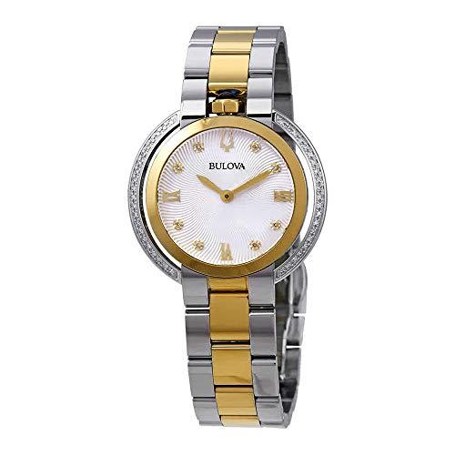 Bulova Rubaiyat 98R246 - Reloj de Pulsera para Mujer con Diamante de Dos Tonos de Oro Amarillo y Acero Inoxidable