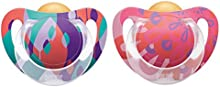 10172083 NUK Genius Color - Látex Chupete, pezón de ortodoncia, BPA-libre, de 6 a 18 meses, tamaño 2, color: púrpura / rosa viejo