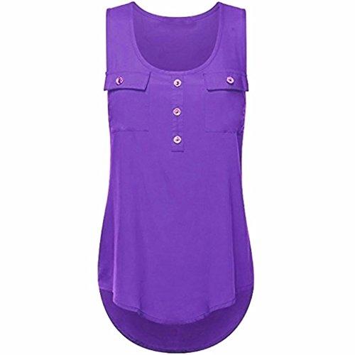 ESAILQ Damen in Trend-Farben aus 100% Baumwolle, auch in Übergrößen, längeres Shirt für drüber und drunter (L,Lila)