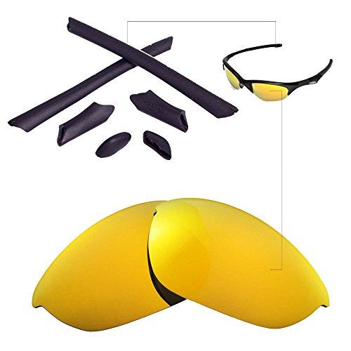 Walleva Ersatzgläser oder Linsen/Gummi für Oakley Half Jacket Sonnenbrille - 41 Optionen (24K Gold Polarisierte Linsen + Schwarzer Gummi)