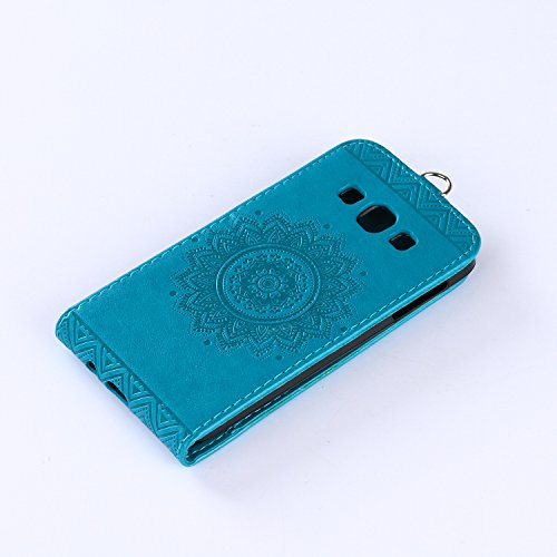 Samsung Galaxy A3 2015 Hülle Leder Tasche Flip Cover Galaxy A3 2015 Wallet Case Alfort Stilvoll Handycover Braun Mandala Blumen Muster PU Ledercase Brieftasche Handyhülle für Samsung Galaxy A3 (2015)  Blau