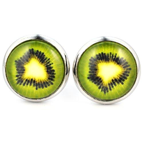 SCHMUCKZUCKER Damen Ohrstecker mit Motiv Kiwi witzige Modeschmuck Ohrringe silber-farben grün 14mm