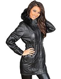 A1 FASHION GOODS Damen Fitted Parka Echtes Leder Mantel mit Abnehmbarem  Pelz Kapuze Mila Schwarz 9801e4180f