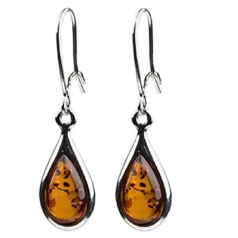 Noda - Boucles d'oreilles Gouttes en ambre de la baltique