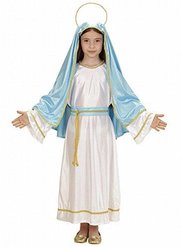 Widmann 00025 - Kinderkostüm Heilige Maria, Tunika, Gürtel, Kopfbedeckung mit Heiligenschein, Größe 116