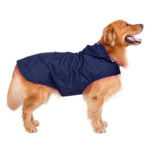 Decdeal Hunde Regenjacke Hunde Regenmantel Hoodie mit Reflektierende Streifen für Große Hunde