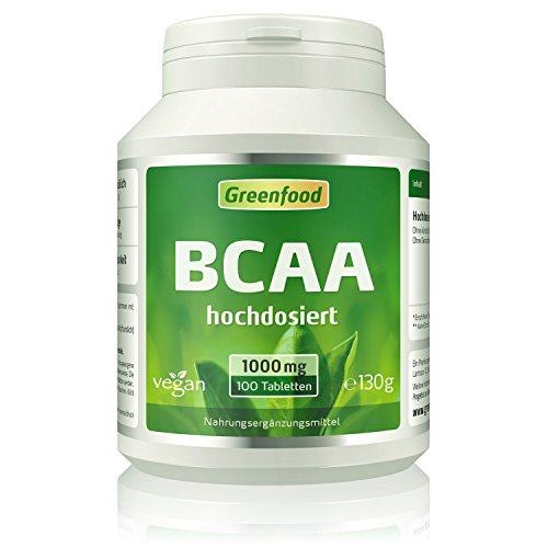 Greenfood BCAA, 1000 mg, hochdosiert, Tabletten – OHNE künstliche Zusätze. Ohne Gentechnik. Vegan.