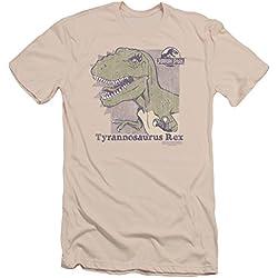 Parque jurásico dinosaurios película Spielberg Retro Rex adulto Marrón Slim camiseta de manga corta Tee