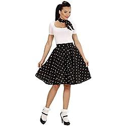 WIDMAN Conjunto de falda de lunares de 1950 y pañoleta - Color negro