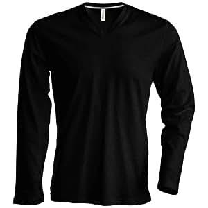 Kariban Herren T-Shirt Slim Fit Langarm V-Ausschnitt (3XLarge) (Schwarz)