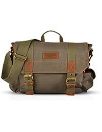 FANDARE Vintage Messenger Bag Sac Bandoulière Ordinateur Portable 14.6 Pouces Laptop Briefcase Sacs Portés Travail Ecole Cartable Crossbody Bag Toile Gris