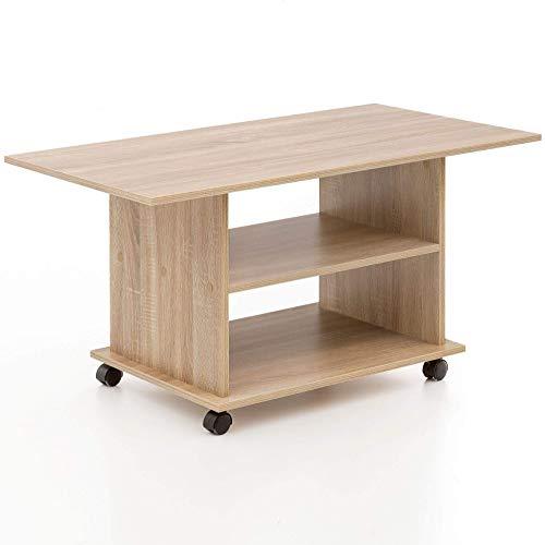 Wohnling Table basse design Move 95 x 51 x 54,5 cm Sonoma rotatif avec roulettes | Table de salon Coffee Table | Table de salon en bois | Table de salon en bois | Table à café avec espace de rangement