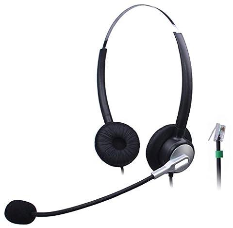 Wantek Filaire Call Center Téléphone Casque avec Flexible Noise Cancelling Micro pour NEC Aspire DT300 DSX Polycom 335 400 Avaya 1416 Aastra 6757i Mitel 5330 ShoreTel IP230 IP Téléphones(H120S01A)