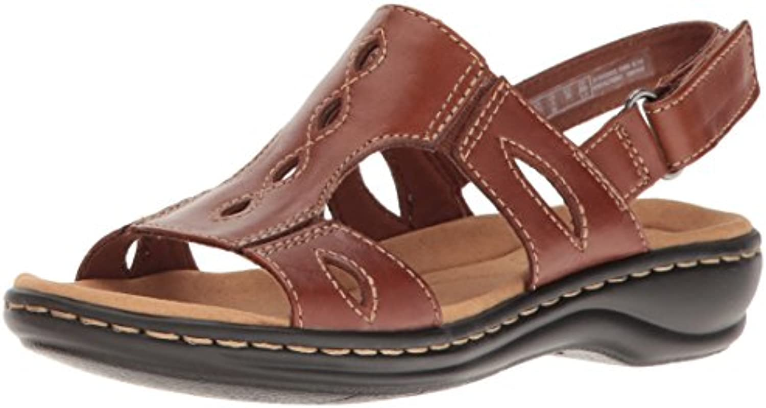 CLARKS Women's Leisa Leather Lakelyn Flat Sandal Tan Leather Leisa 10 M US ecc5a9